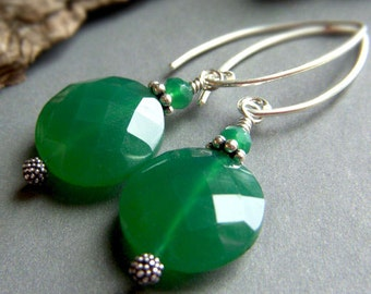 Green Onyx Earrings Sterling Silver, Coin Round Emerald Gemstone Dangle, Luxe Green Gemstone Earrings