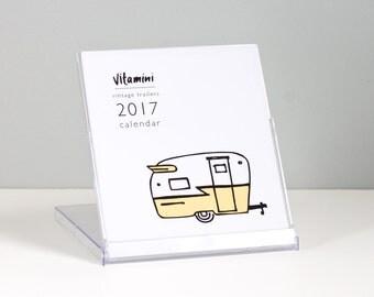 Vintage Trailer 2017 Calendar / Retro Campers / Airstream Trailer / Teardrop Trailer / Desk Calendar / Stocking Stuffer / CD Calendar