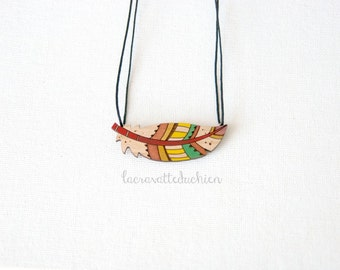 Wooden feather necklace, bird feather pendant, wood jewelry