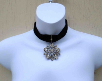 Vintage Early Nineties Marcasite and Faux Pearl Flower Drop on Black Suede Chocker Necklace  by Roxanne Assoulin