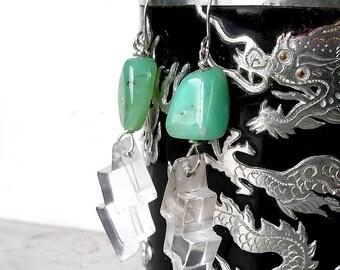 Chrysoprase Earrings Rock Quartz Lightening Bolt Sterling Silver Birthstone Metaphysical Healing Stones