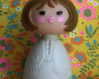 Vintage Avon Small World Collection Cream Lotion Brown Haired Girl Bottle - so sweet and nostalgic