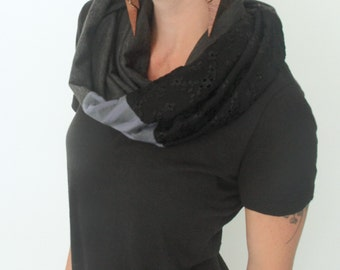 infinity scarf/ jersey circle scarf/ charcoal grey with black lace and stripes READY TO SHIP