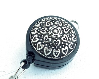 Antiqued Silver Hearts on Black Lanyard Badge Reel with Belt Clip