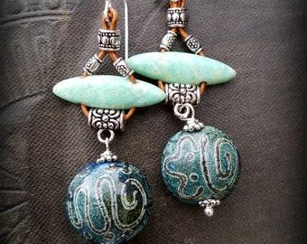 Lampwork Glass, Lampwork Headpins, Amazonite, Leather, Silver, Primitive, Organic, Rustic, Beaded Earrings