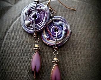 Lampwork Glass, Lampwork Discs, Glass Discs, Rustic, Tribal, Hoop, Organic, Primitive, Beaded Earrings