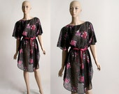 Vintage 1970s Sheer Dress - Mini Dark Floral Black and Hot Pink Purple Dress - Medium