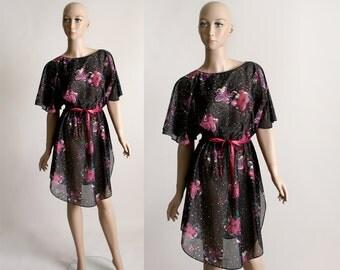 Vintage 1970s Sheer Dress - Mini Dark Floral Black and Hot Pink Dress - Medium