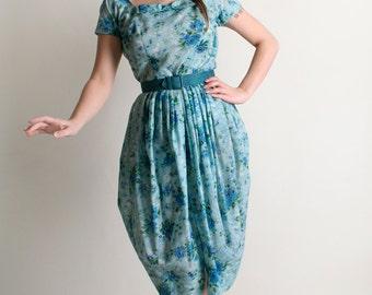 Vintage 1960s Dress - Aquamarine Bubble Petal Skirt Floral Dress - Small XS