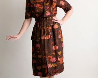 Vintage 1960s Dress - Floral Brown Asian Style Wiggle Dress with Pockets - Medium