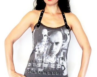 Disturbed shirt tank top Band tee t-shirt Rock chic clothing rocker clothes alternative apparel studded metal dark