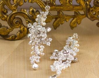 "As Seen on Reign | Long Statement Wedding Earrings | Pearl & Crystal Bridal Dangle Drop Earrings | Vintage Inspired | ""Delphinium"""