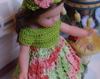 Crochet clothes Tonner Wee Patsy 6 inch doll Dress Hat Green Coral Pink Bead