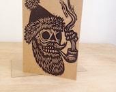 Christmas Card, Skull Santa Card, Linocut Greeting Card, Alternative Christmas Card, Christmas Card Sets, Punk Rock Christmas Card