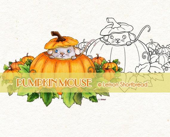 Digital Stamp Pumpkin Mouse, Halloween Autumn Digi Fall, Cute Animal, Jack O' Lantern, Clip Art, Scrapbooking Supplies, Instant download