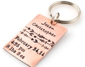 Personalized Birth Announcement Key Chain - custom stamped in aluminum, copper, brass, or sterling silver