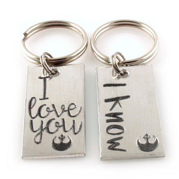 Star Wars Key chains - Han & Leia - I love you and I know - his and hers key chains - Set of 2 - Valentine's Day