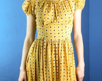 AUTHENTIC 30s Maxi Yellow Daisy Print Summer Party Cotton Vintage Dress XS/S Puff Sleeve