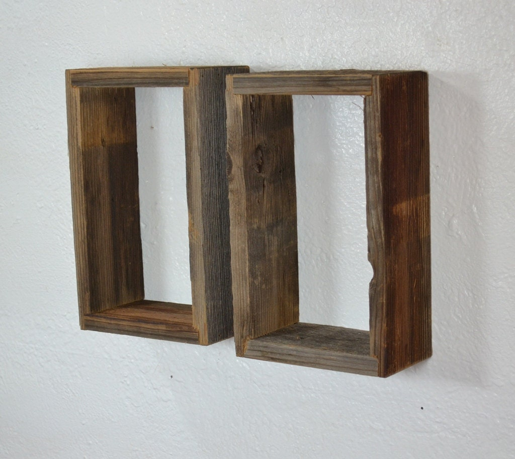 shadow boxes wall shelves reclaimed wood pair. Black Bedroom Furniture Sets. Home Design Ideas