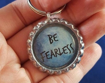 ONE 'Be Fearless' Bottle Cap Charm Keychain