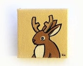 Jackalope Painting Miniature - Jackalope Tiny Art - Original Mythical Animal Wall Art Acrylic on Canvas 2 x 2 Inches Miniature Painting