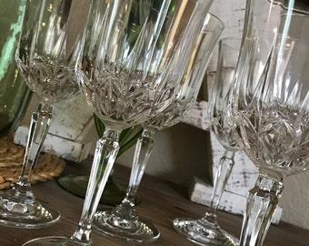 Set of 6 Crystal Wine Glasses Water Goblets Wedding Farmhouse Style Holiday Entertaining TYCAALAK