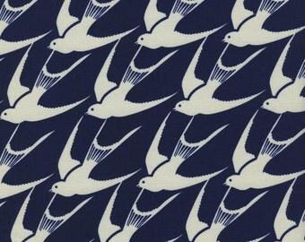 Cotton + Steel Bluebird Flock 100% Cotton Fabric Navy and White