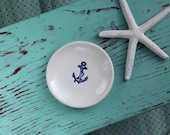 Boat Anchor in Navy Blue on Small Round Dish, Nautical Anchor Ring Dish, Anchor Design on Small Round Trinket Dish