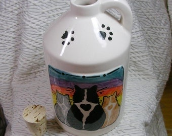 Cats And Sunset Jug With Cork Top Handmade Pottery Clay Meowler by Gracie