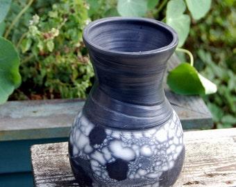 Wide Mouth Marbled Naked Raku Vase