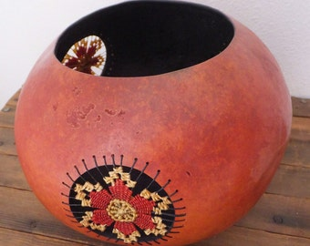 Art Gourd Vessel Gourd Object Sculpture Native Style Decor Southwestern Decor Gourd Pot