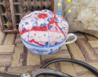 Vintage Teacup Pincushion Red White Blue Sewing Accessory Tea Cup Pin Cushion Toy Teacup Blue Horses Cup China Cup Pincushion Sewer's Gift