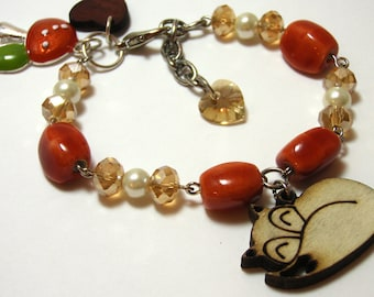 Wooden Fox Bracelet - Wood burned fox charm with glass beads, swarovski crystal elements, and woodland mushroom charms