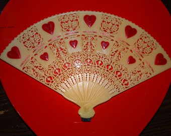 Victorian Valentine FTD Floral Pic, Valentine Planter Decoration, 1970's, Hearts, Plastic Fan, Sweetheart Fan, Cake Topper Valentine Fan