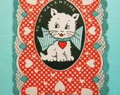 Vintage Valentine's Day Card Kitten with Giant Bow