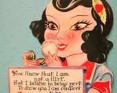 Vintage Mechanical Valentine's Day Card Girl Powdering Nose