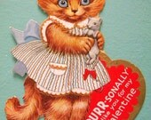 Vintage Valentine's Day Card Kitty Cat Holding Mouse or Rat