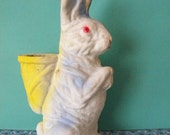 Large Vintage Pulp Paper Easter Bunny Candy Container Paper Mache Rabbit with Basket on his Back