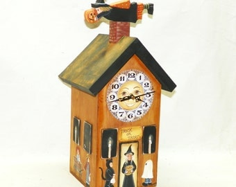 Halloween Clock Witches House Trick or Treat Costumed Children Hand Painted Primitive Folk Art Man in Moon Black Cat Jack O Lantern OFG