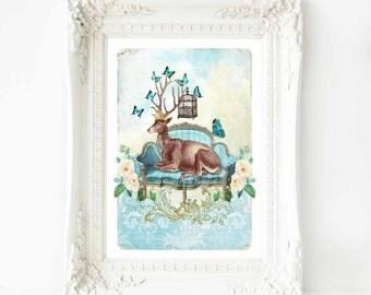Deer print, deer wall art, French sofa, antlers, butterflies, bird cage, roses, blue, vintage home decor, deer, fantasy art, home decor