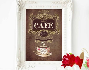 French vintage Cafe, kitchen decor print, in chocolate brown and gold, A4 giclee