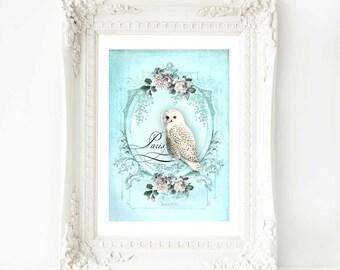 Owl print, French vintage decor, Paris, French home decor, white owl, owl illustration, owl art, owl decor, vintage art, blue, A4 print