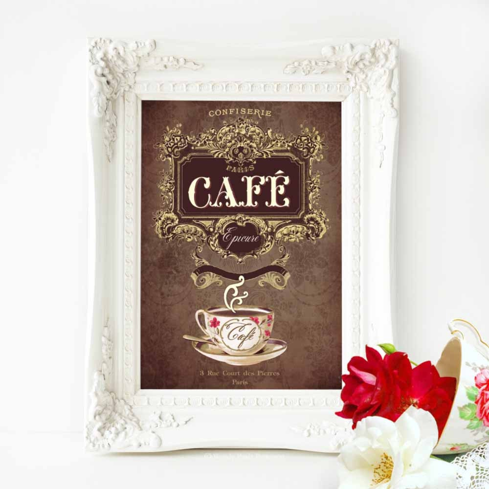 French Vintage Cafe Kitchen Decor Print In Chocolate Brown
