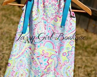 Dress Bright Paisley Girls Pillowcase Dresses with Turquoise Grosgrain Ribbons