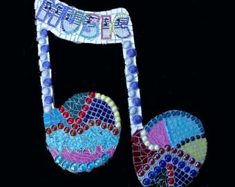 Music Note Mosaic Wall Hanging Ooak Original