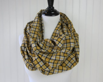 Yellow Plaid Scarf - Yellow Infinity Scarf - Chunky Infinity Scarf - Yellow Flannel Scarf - Yellow Scarf