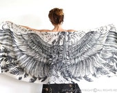 Christmas Gift, Large Scarf, Hippie Scarf, Gift for Her, Wings Shawl, Cotton Sarong, Boho Bride, Abstract Scarf, Women Shawl, Pattern Scarf