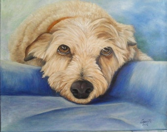 """Oil Painting Dog Pet Portrait 16""""x 20"""" READY to SHIP"""