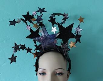 Celestial Headdress -  Sparkling, Glittery, Cosmos Coloured Leather Star Burlesque Headdress. To Order
