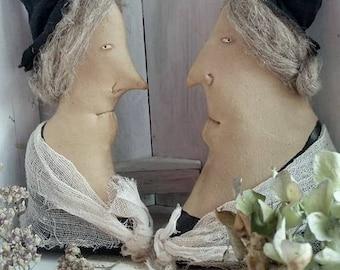 Mrs. Munson & Harriet Lurvey, A Primitive Folk Art Witch Pattern by Raven's Haven